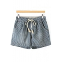Striped Printed Drawstring Waist Loose Leisure Shorts