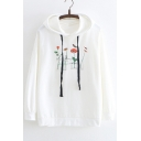 Cute Bird Floral Printed Leisure Long Sleeve Hoodie