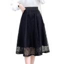 Fashion Elastic Waist Midi A-Line Lace Skirt