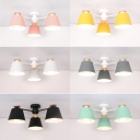 3/6 Lights Cone Chandelier Lighting Colorful Macaron Corridor Metallic Suspension Light