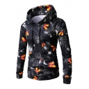 Bulb Butterfly Printed Long Sleeve Leisure Hoodie