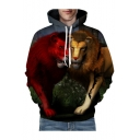 3D Lovely Lions Printed Long Sleeve Casual Hoodie