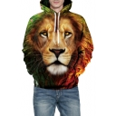 3D Lion Floral Printed Long Sleeve Loose Casual Hoodie