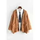 Tassel Embellished Collarless Long Sleeve Loose Cardigan with Pockets