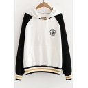 OCTOPUS Letter Embroidered Color Block Long Sleeve Striped Printed Hem Loose Hoodie