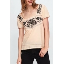 Square Neck Short Sleeve Floral Embroidered Blouse