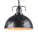 Weathered Steel 1-Light Ceiling Pendant Light Fixture with Metal Dome Shade