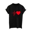 ECG Heart Printed Round Neck Short Sleeve Tee