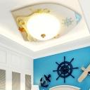 Blue/White Round Rudder Flush Mount White Glass 1 Light LED Ceiling Light for Kids