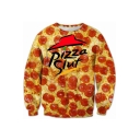 PIZZA SLUT Letter Printed Round Neck Long Sleeve Sweatshirt