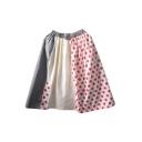 Harajuku Style Ladybird Polka Dot Plaid Print A-Line Skirt