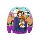 3D God Printed Round Neck Long Sleeve Sweatshirt