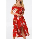 Off The Shoulder Floral Printed Short Sleeve Maxi Asymmetric Hem Dress