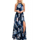 Halter Sleeveless Split Front Floral Printed Maxi Cami Dress