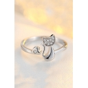 Cute Cat Pattern Diamante Resizable Ring