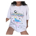 Fancy Colorful Centaur Letter Printed Round Neck Short Sleeve Tee