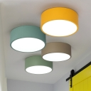 Colorful Macaron Cylinder Flush Mount Metallic LED Ceiling Light for Kids Living Room
