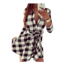 3/4 Length Sleeve Plaid Printed Lapel Collar Mini A-Line Dress