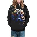 Lightning Skull Printed Long Sleeve Loose Hoodie