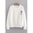 Floral Letter Embroidered Ruffle Trim Round Neck Long Sleeve Sweatshirt