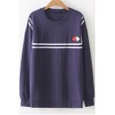 Heart Embroidered Contrast Striped Braid Round Neck Long Sleeve Sweatshirt