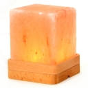 Pure Amber Color Himalayan Salt Lamp Square Bed Nightlight in Wooden Base