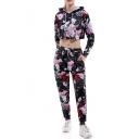 Floral Printed Long Sleeve Crop Hoodie with Drawstring Waist Loose Pants Co-ords