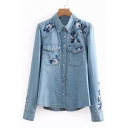Floral Embroidered Button Down Lapel Collar Long Sleeve Denim Shirt