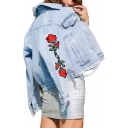 Floral Embroidered Button Down Lapel Collar Long Sleeve Ripped Detail Denim Jacket