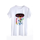 WE CAN DO IT Letter Unicorn Printed Round Neck Short Sleeve Tee