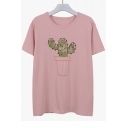 Cotton Cartoon Cactus Embroidered Round Neck Short Sleeve Tee