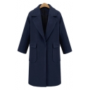 Winter Collection Notched Lapel Collar Long Sleeve Plain Tunic Woolen Coat