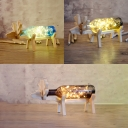 Vintage Remote/Button/Dimmer Switch Wooden Glass Deer Decorative Night Light in Blue/Gray