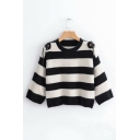 Color Block Striped Round Neck Hollow Out Straps Embellished Shoulder Long Sleeve Sweater