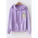 Letter Graphic Embroidered Applique Long Sleeve Loose Hoodie