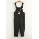 EAT Letter Rabbit Embroidered Straps Sleeveless Overall Jumpsuit