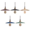 Metal Scalloped Shade Bare Bulb Ceiling Pendant for Restaurant Hallway Various Colors for Choice
