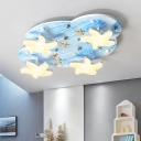 4 Lights Starfish Flush Mount Light Children Room Acrylic Ceiling Light in Sky Blue