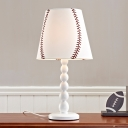 White Baseball Design Table Lamp Sports Theme Fabric 1 Light Standing Table Light for Boys
