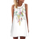 Feather Printed Round Neck Sleeveless Mini A-Line Dress