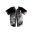 Astronaut Space Printed V Neck Button Down Short Sleeve Baseball Tee