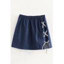 Chic Elastic Waist Plain A-Line Denim Skirt with Letter Strap Tie