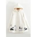 Cat Pattern Single-Breasted Raglan Sleeve Hooded Coat