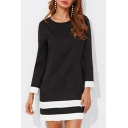 Color Block Round Neck Long Sleeve Mini A-Line Dress
