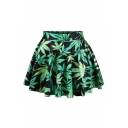 Leaf Printed Elastic Waist Mini A-Line Skirt