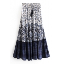 Tassel Drawstring Waist Floral Color Block Printed Maxi A-Line Skirt