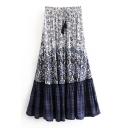 Tassel Drawstring Waist Floral Color Block Printed Maxi A-Line Skirt