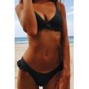 Ruffle Detail Plain Spaghetti Straps Beach Bikini