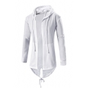 Long Sleeve Plain Drawstring Hem Open Front Tunic Hooded Coat