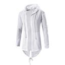 Long Sleeve Plain Drawstring Hem Open Front Tunic Hooded Coat
